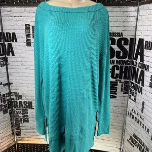 Free People Teal Thermal Waffle Knit Tunic Top